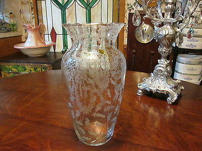 "rare minerva with paper sticker 10 5/8"" vase cambridge glass company"