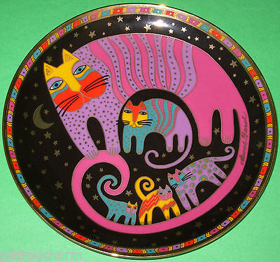 ❤LAUREL BURCH ~Feline Family CAT PLATE~ Franklin Mint Tray Bone China 24k Gold❤