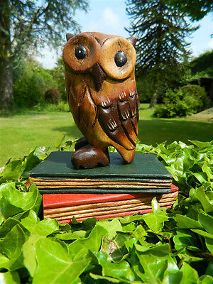 Wooden Owl Carving - Hand Carved Wise Old Owl on Book