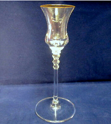 """Gold Rim Mikasa 24% Lead Crystal SONATA 7.25"""" Candlestick Candle Holder EXCELL"""
