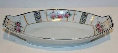 """Gorgeous Vintage Hand-Painted Nippon Floral Oblong Celery Relish Dish Gold 9"""""""