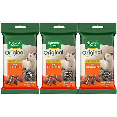 Natures Menu- 3 packs of Chicken mini dog treats- Made with 95% REAL MEAT