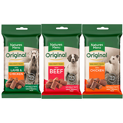 Natures Menu- 3 packs of mini dog treats-1 of each flavour, 95% real meat