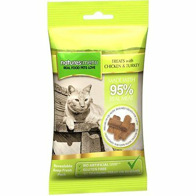 Natures Menu- 3 packs of Chicken & Turkey cat treats with 95% REAL MEAT G Free