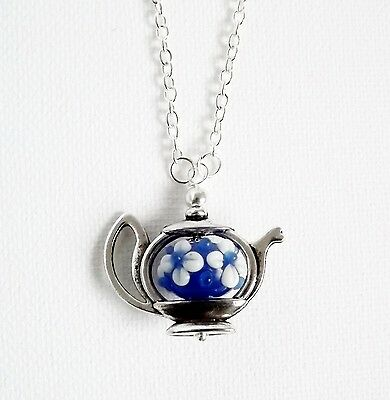 Teapot & flower lampwork glass pendant necklace .. silver tone bead cute blue