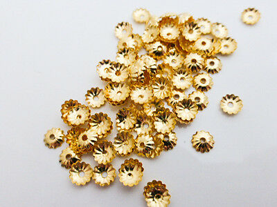 100 x Pretty Gold Fluted Flower Bead Caps Endbeads 5mm Findings       (MBX0067)