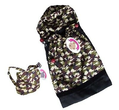 Teddy Bear Clothes fit Build a Bear Army Sleeping Bag and FREE Backpack Set