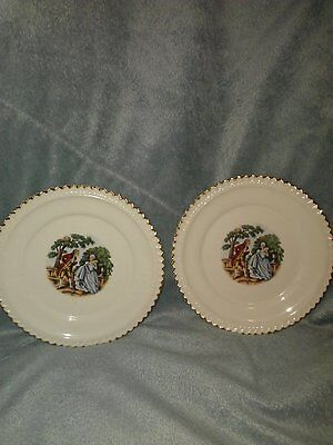 """Harker Pottery 6 1/4"""" bread and butter plates courting scene 22K gold rim"""