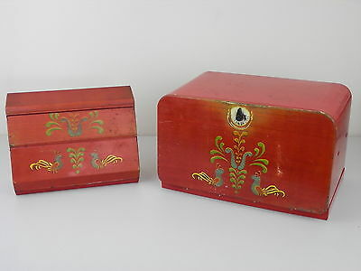 Vintage Wilson Metal Products Bread Box and matching Beautyware Roll Holder Red