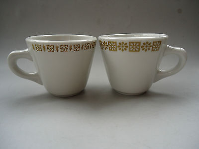 SHENANGO 2 COFFEE DINER CUPS WHITE GOLD FLORAL RIM USA RESTAURANTWARE DISHES