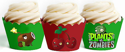 Plants Vs Zombies Party 15 Wraps Cupcake Cases Cake Wrappers cup cake