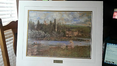 La Barque A Giverny 1887 by CLAUDE MONET Cream & Gold Matted Print