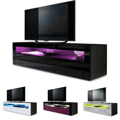 Tv Unit Stand Sideboard Led Valencia In Black High Gloss Natural