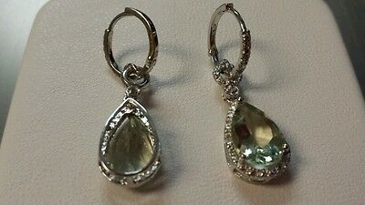 NEW Sterling 925 GREEN AMETHYST 6ct &Diamond 1/10ct  Accent Dangle Earrings$199