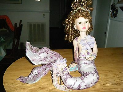 Artist Porcelain Mermaid Doll With Stand and Tags