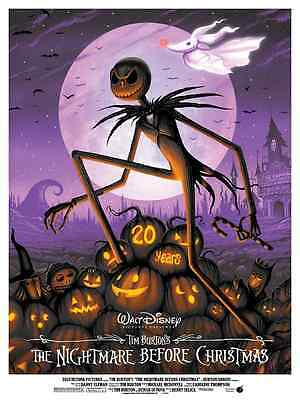 The Nightmare Before Christmas 20th Anniversary Variant Poster Jeff Soto Disney