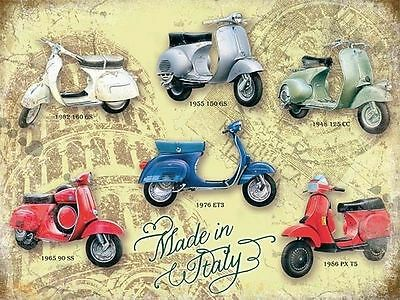 30cm x 20cm VESPA MOTORCYCLES Vintage METAL TIN Advert French 60s Retro Sign
