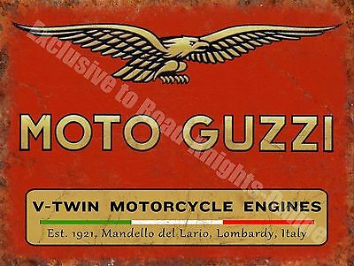 Vintage Garage Moto Guzzi, 121, Italian Motorcyles V-twin, Small Metal Tin Sign
