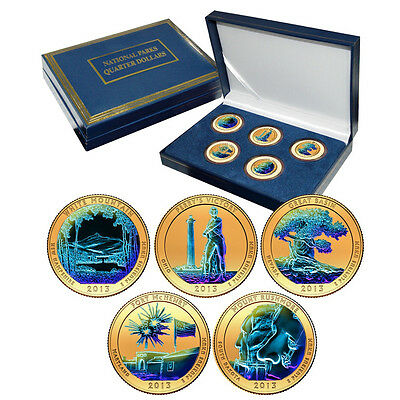 2013 Gold Plated with Hologram America the Beautiful National Parks Quarter Set