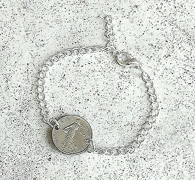 VINTAGE FRENCH 1/2 FRANC WALK LADY FOREIGN COIN SILVER JEWELRY BRACELET CHARM