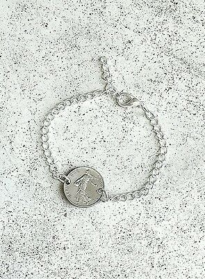 VINTAGE FRENCH 1/2 FRANC FOREIGN COIN SILVER JEWELRY BRACELET DAINTY SMALL CHARM