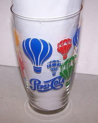 Large Pepsi Cola Glass with Hot Air Balloons - Red Blue Green Orange