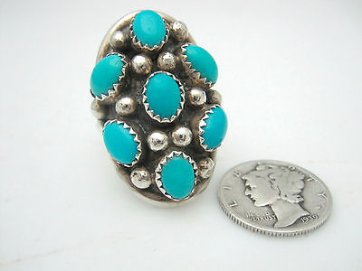 Native American Sterling Silver Oblong Sleeping Beauty Turquoise Ring Size 6.75