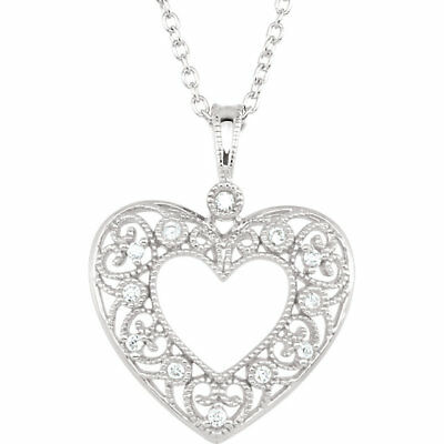 """Diamond Heart 18"""" Necklace In Sterling Silver 1/10 ct. tw."""