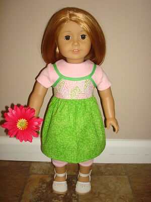 Handmade Doll Clothes fits/for 18 in. American Girl ~ Pink Jumper & Leggings Set