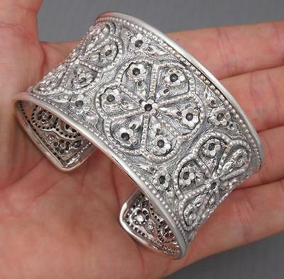 52g WIDE MULTI FLOWER ELEGANT 925 STERLING SILVER WOMENS BANGLE CUFF BRACELET