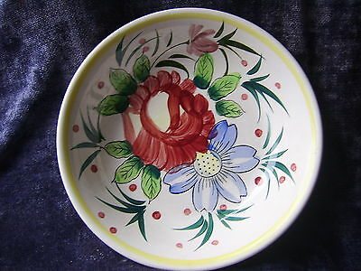 """RARE - Large Ceramic THE IRONSTONE MG 11"""" vegetable bowl Floral with Yellow Band"""