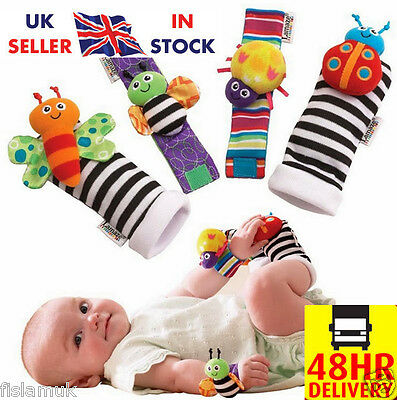 ☀NEW☀ Genuine 4pcs Lamaze Baby Foot Wrist Rattle Socks Bracelet Set Sensory Toy