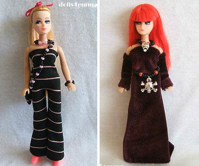 HANDMADE DOLL CLOTHES & JEWELRY for DAWN Goth Belt Jumpsuit Purse  LOT #16