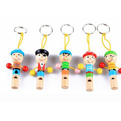 5pcs Cute Pirate Wooden Whistle with Keyring Key Chain for Kids Games ED