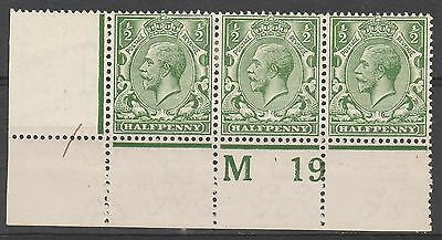 Great Britain 1913 Kgv 1/2D Plate Strip M19  Wmk Simple Cypher