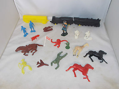 VINTAGE 1950'S 1960'S MIXED TOY LOT JUNK DRAWER W/ BANNER TRAIN & MORE ~ MARX?