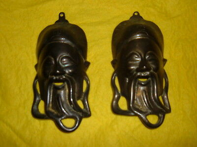 PAIR VINTAGE SOLID BRASS CHINESE FACE  PLAQUES WALL HANGING LOT of 2