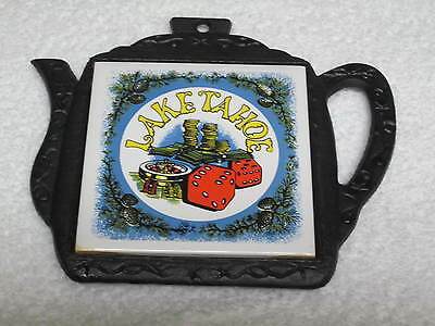 TRIVET LAKE TAHOE CAST IRON HEAVY THICK 7x 6.5 INCHES COLLECTIBLE