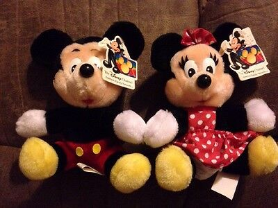 Vintage Disney Channel Mickey & Minnie Mouse Stuffed Plush Doll Disneyland w/Tag