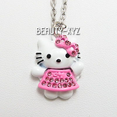 NEW Adorable Hello Kitty Necklace Pink Bow Austrian Crystal Pendant Necklace 116