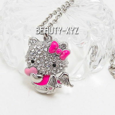 18K White Gold Plated Hello Kitty Angel Swarovski Crystal Pendant Necklace pink
