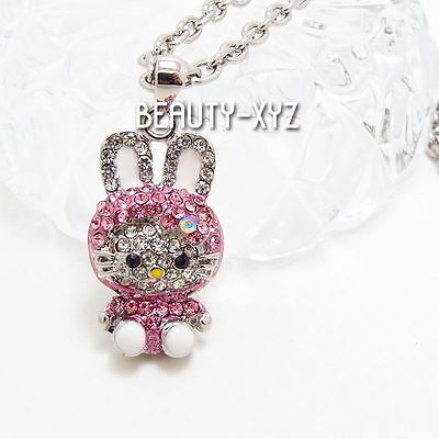 NEW Pink Hello Kitty Bunny Costume Crystal White Gold Plated  Pendant Necklace
