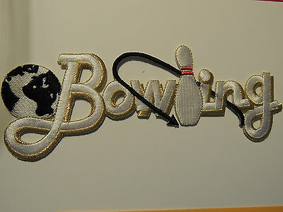 Bowling with ball and Pin Fully Embroidered Iron On Fabric Applique
