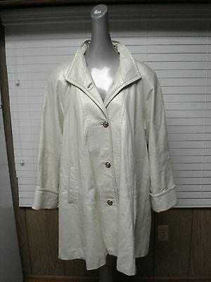 Vtg Iridescent Pearl White Rocco D'Amelio Dero Leather Jacket Coat Gold Buttons