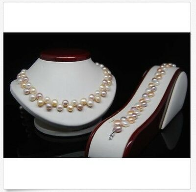"MP"" Fine 8-9MM Multi_color AAA Oblate Shape pearl jewelry sets"