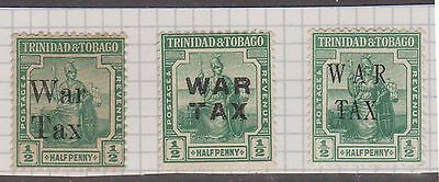 (T12-151) 1917 Trinidad &Tobago ½d green x3 different War Tax O/Ps MH
