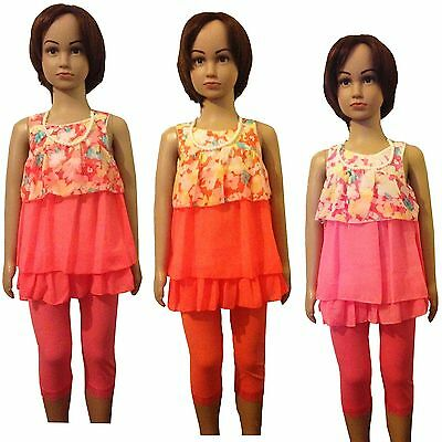 Girls LOVELY Top/Tunic Dress, Leggings &Necklace 3 Pieces Set/Outfit 3-12yrs #75