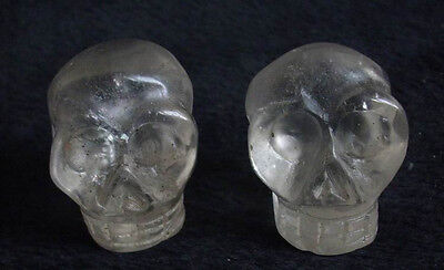 2 SMALL NATURAL CLEAR QUARTZ CRYSTAL SKULLS CARVED HEALING