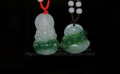 Beautiful Pair White Green Real Jade Carved Buddha Blessing Pendant Necklace