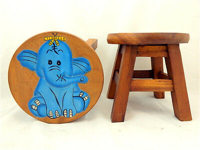 Childs Childrens Wooden Stool Chair - Blue Elephant Step Stool